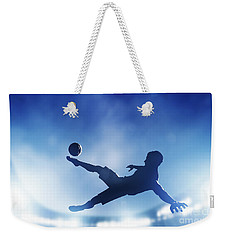Football Soccer Match A Player Shooting On Goal Weekender Tote Bag