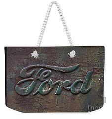 Detail Old Rusty Ford Pickup Truck Emblem Weekender Tote Bag
