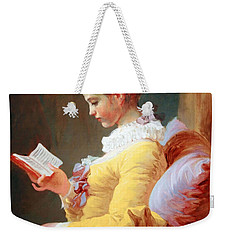 Weekender Tote Bag featuring the photograph Fragonard's Young Girl Reading by Cora Wandel