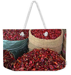 Weekender Tote Bag featuring the photograph Fresh Dried Chilli On Display For Sale Zay Cho Street Market 27th Street Mandalay Burma by Ralph A  Ledergerber-Photography