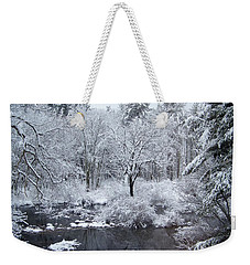 Fresh Snow Falls Along The Tree Lines Stream Weekender Tote Bag