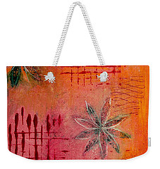 Weekender Tote Bag featuring the painting Fun Flowers In Pink And Orange 3 by Jocelyn Friis