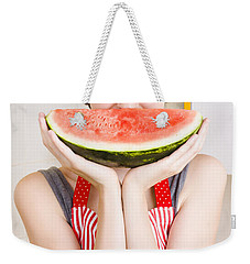 Funny Woman With Juicy Fruit Smile Weekender Tote Bag by Jorgo Photography - Wall Art Gallery
