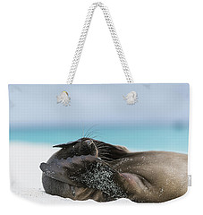 Galapagos Sea Lion Pup Covering Face Weekender Tote Bag