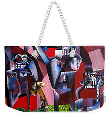 Weekender Tote Bag featuring the painting Gaungian Dimensional by Ryan Demaree