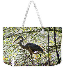 Weekender Tote Bag featuring the photograph Great Blue Heron In Bushes by Karen Silvestri