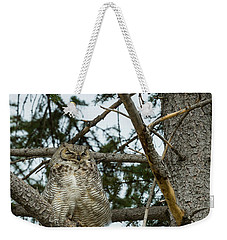 Weekender Tote Bag featuring the photograph Great Horned Owls by Michael Chatt