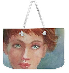 Weekender Tote Bag featuring the painting Green Eyes by Marilyn Jacobson