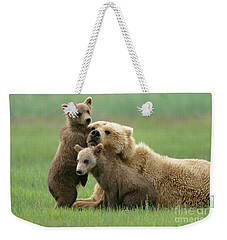 Grizzly Cubs Play With Mom Weekender Tote Bag