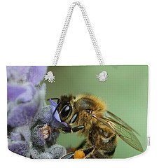 Weekender Tote Bag featuring the photograph Happy Bee by Joy Watson