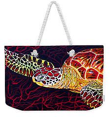 Weekender Tote Bag featuring the painting  Hawksbill Turtle by Debbie Chamberlin