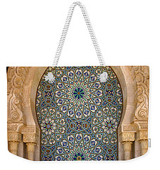 Weekender Tote Bag featuring the photograph Holy Water Fountain Hassan II Mosque Sour Jdid Casablanca Morocco  by Ralph A  Ledergerber-Photography