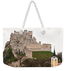 Weekender Tote Bag featuring the photograph Hrad Beckov - Castle by Les Palenik