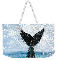 Weekender Tote Bag featuring the painting Humpback Flukes by Debbie Chamberlin