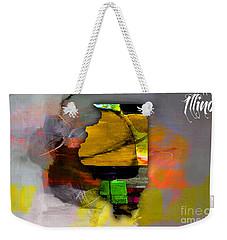 Illinois Map Watercolor Weekender Tote Bag