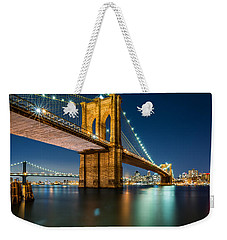 Illuminated Brooklyn Bridge By Night Weekender Tote Bag