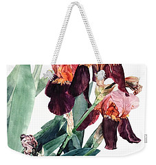 Watercolor Of A Pink And Maroon Tall Bearded Iris I Call Iris La Forza Del Destino Weekender Tote Bag