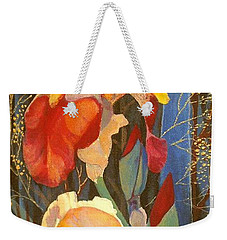 Weekender Tote Bag featuring the painting Irises by Marina Gnetetsky