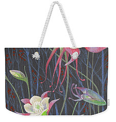 Weekender Tote Bag featuring the painting Japanese Flowers by Marina Gnetetsky