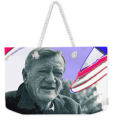 Weekender Tote Bag featuring the photograph John Wayne Out Of Costume With Flag by David Lee Guss