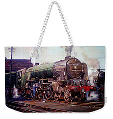 Weekender Tote Bag featuring the painting Kenilworth On Shed. by Mike  Jeffries