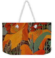 Weekender Tote Bag featuring the painting Lilies by Marina Gnetetsky
