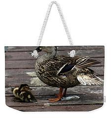Mama Duck And Ducklings Weekender Tote Bag by Pamela Walton