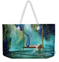 Mermaids Lazy Lagoon Weekender Tote Bag by Leslie Allen