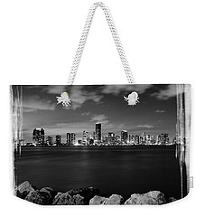Miami Skyline At Night Weekender Tote Bag by Carsten Reisinger