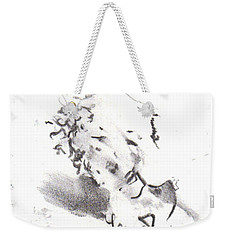 Weekender Tote Bag featuring the drawing Momere by Laurie L