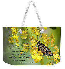 Monarch Butterfly With Scripture Weekender Tote Bag