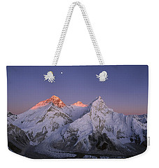 Weekender Tote Bag featuring the photograph Moon Over Mount Everest Summit by Grant  Dixon