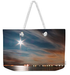 Moon Rise Over Anna Maria Island Historic City Pier Weekender Tote Bag