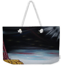 Weekender Tote Bag featuring the pastel Moon Tower by Robert Nickologianis