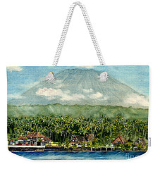 Weekender Tote Bag featuring the painting Mt. Agung Bali Indonesia by Melly Terpening