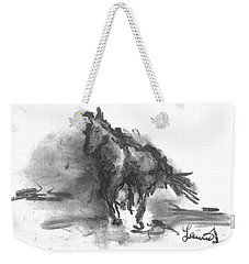 Weekender Tote Bag featuring the drawing My Stallion by Laurie L