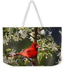 Red Cardinal In Flowers Weekender Tote Bag
