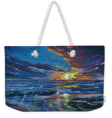 Weekender Tote Bag featuring the pastel Never Ending Sea by Peter Suhocke