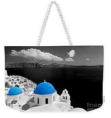 Oia Town On Santorini Island Greece Blue Dome Church Black And White. Weekender Tote Bag
