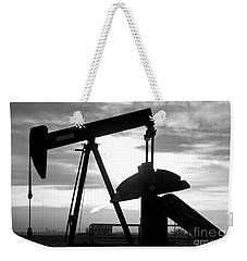 Oil Well Pump Jack Black And White Weekender Tote Bag
