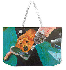 Weekender Tote Bag featuring the painting One Team Two Heroes - 1 by Donald J Ryker III
