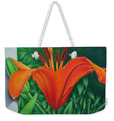 Weekender Tote Bag featuring the painting Orange Lily by Pamela Clements