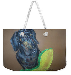 Weekender Tote Bag featuring the pastel Ozzie Dashound by Peter Suhocke