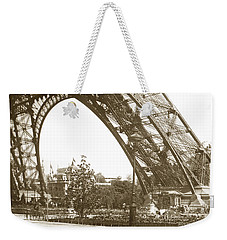 Weekender Tote Bag featuring the photograph Paris Exposition Eiffel Tower Paris France 1900  Historical Photos by California Views Mr Pat Hathaway Archives