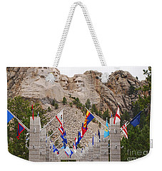 Weekender Tote Bag featuring the photograph Patriotic Faces by Mary Carol Story