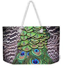 Weekender Tote Bag featuring the photograph Peacock Plumage  by Jim Fitzpatrick