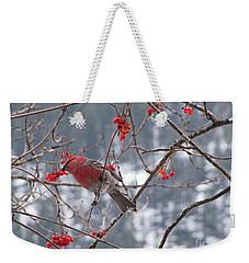 Pine Grosbeak And Mountain Ash Weekender Tote Bag by Leone Lund