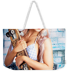 Portrait Of A Young Grunge Woman On Graffiti Wall Weekender Tote Bag by Jorgo Photography - Wall Art Gallery