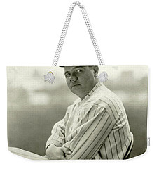 Portrait Of Babe Ruth Weekender Tote Bag by Arnold Genthe