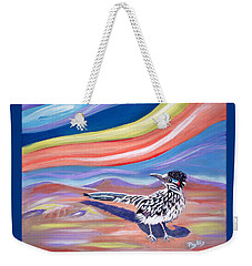 Weekender Tote Bag featuring the painting Posy 2 The Roadrunner by Phyllis Kaltenbach